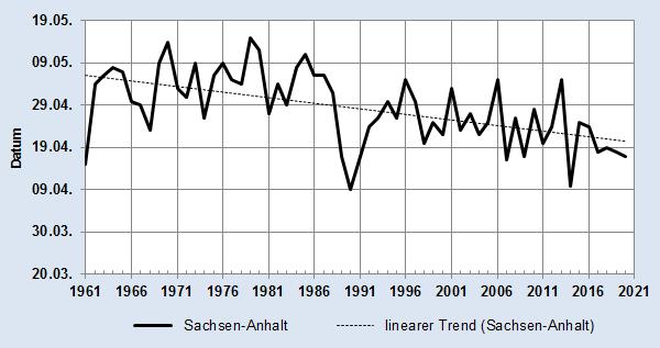 Entwicklung des Beginn der Apfelblüte für Sachsen-Anhalt als Datum